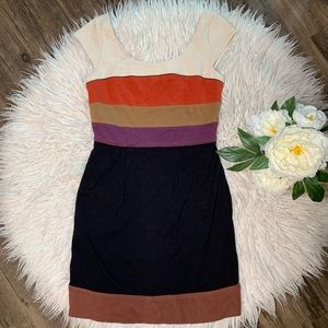• BCBG Maxazria Striped Colorblock Dress •